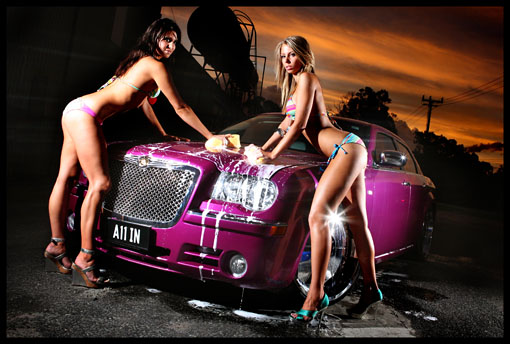 Babes washing Chrysler 300C - Bikini Car Wash. Suds